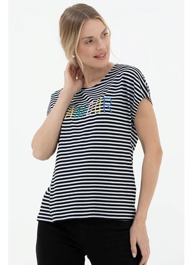 Sementa Nakış Detaylı Çizgili Tshirt - Siyah Siyah